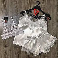 Белый кружевной бюстгальтер+пижама-комплект одежды для сна.