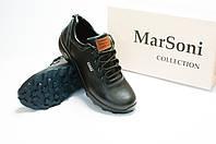 Туфли мужские MarSoni полуспортивные черные из натуральной кожи, код 152