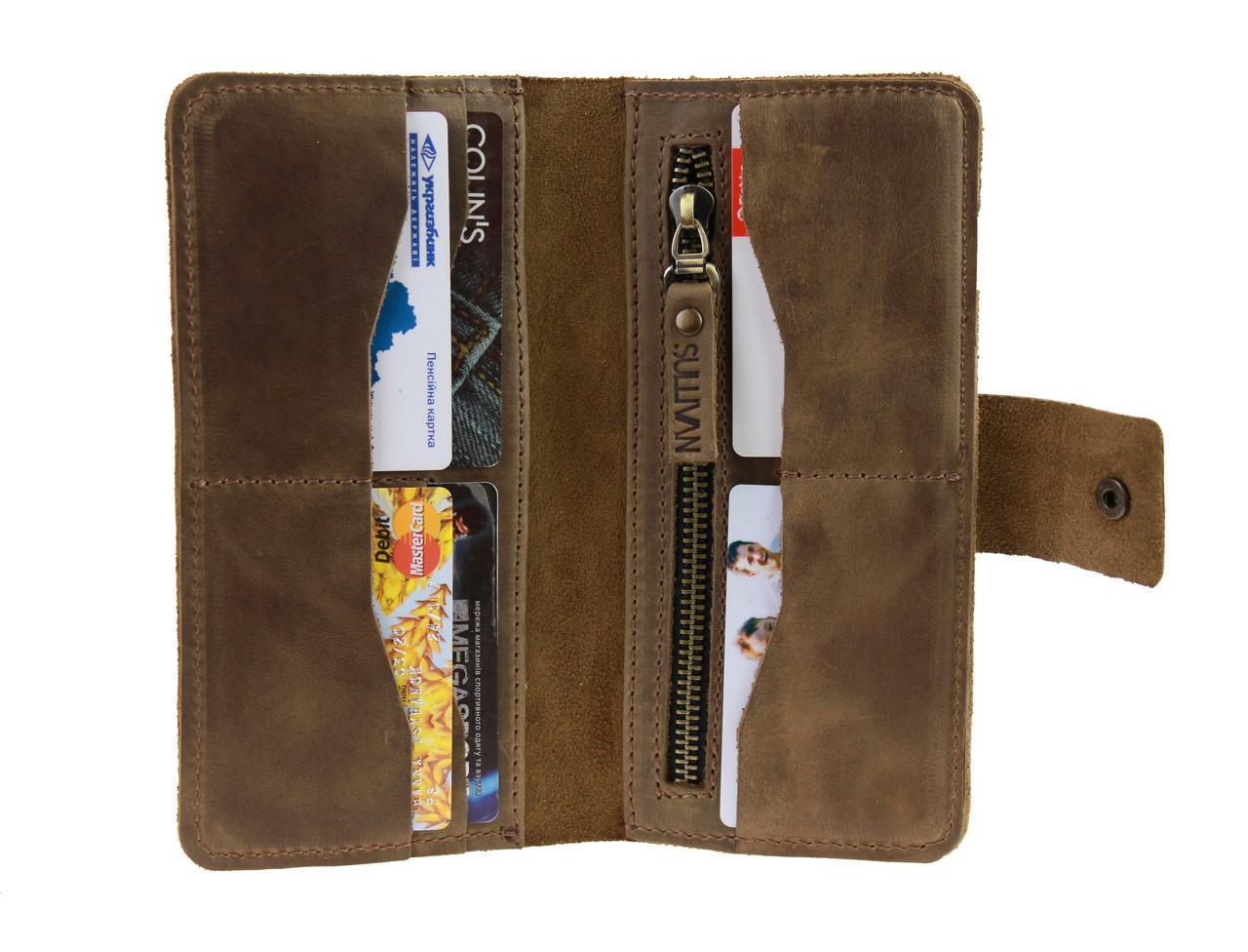 Кошелек мужской большой купюрник для денег портмоне картхолдер SULLIVAN  kmk42(10) оливковый