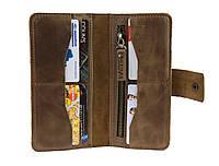 Кошелек мужской большой купюрник для денег портмоне картхолдер SULLIVAN  kmk42(10) оливковый, фото 1