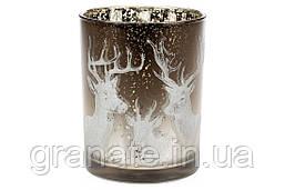 Подсвечник стеклянный с рисунком Олени, цвет -коричнево-белый градиент, 12,5см