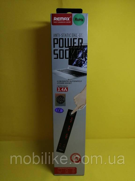 Сетевой удлинитель Remax BKL-01 3 Socket / 4 USB / Кабель 200см