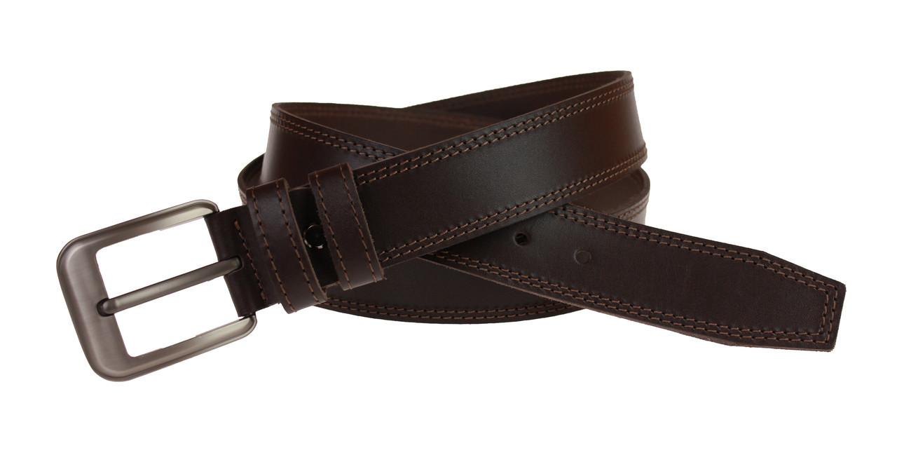 Ремень мужской кожаный джинсовый двойная строчка SULLIVAN  RMK-23(8) 115-150 см коричневый