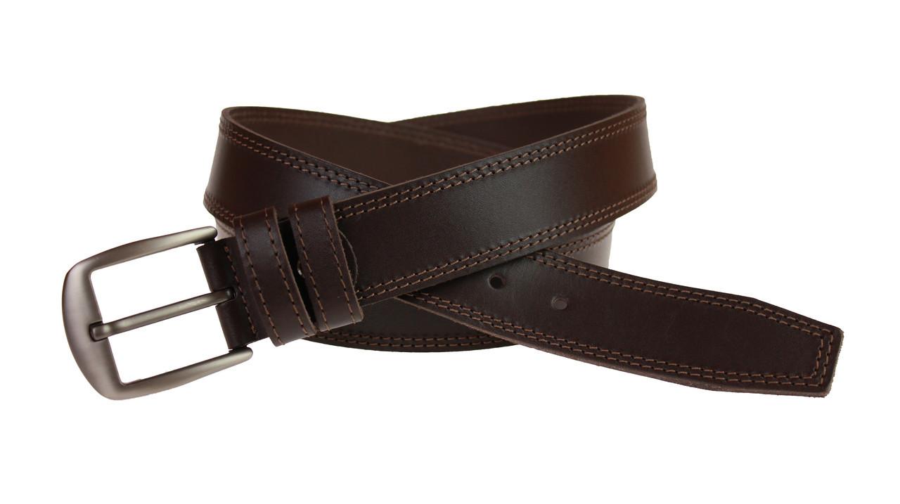 Ремень мужской кожаный джинсовый двойная строчка SULLIVAN  RMK-25(8) 115-150 см коричневый