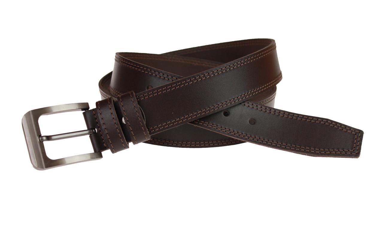 Ремень мужской кожаный джинсовый двойная строчка SULLIVAN  RMK-27(8) 115-150 см коричневый