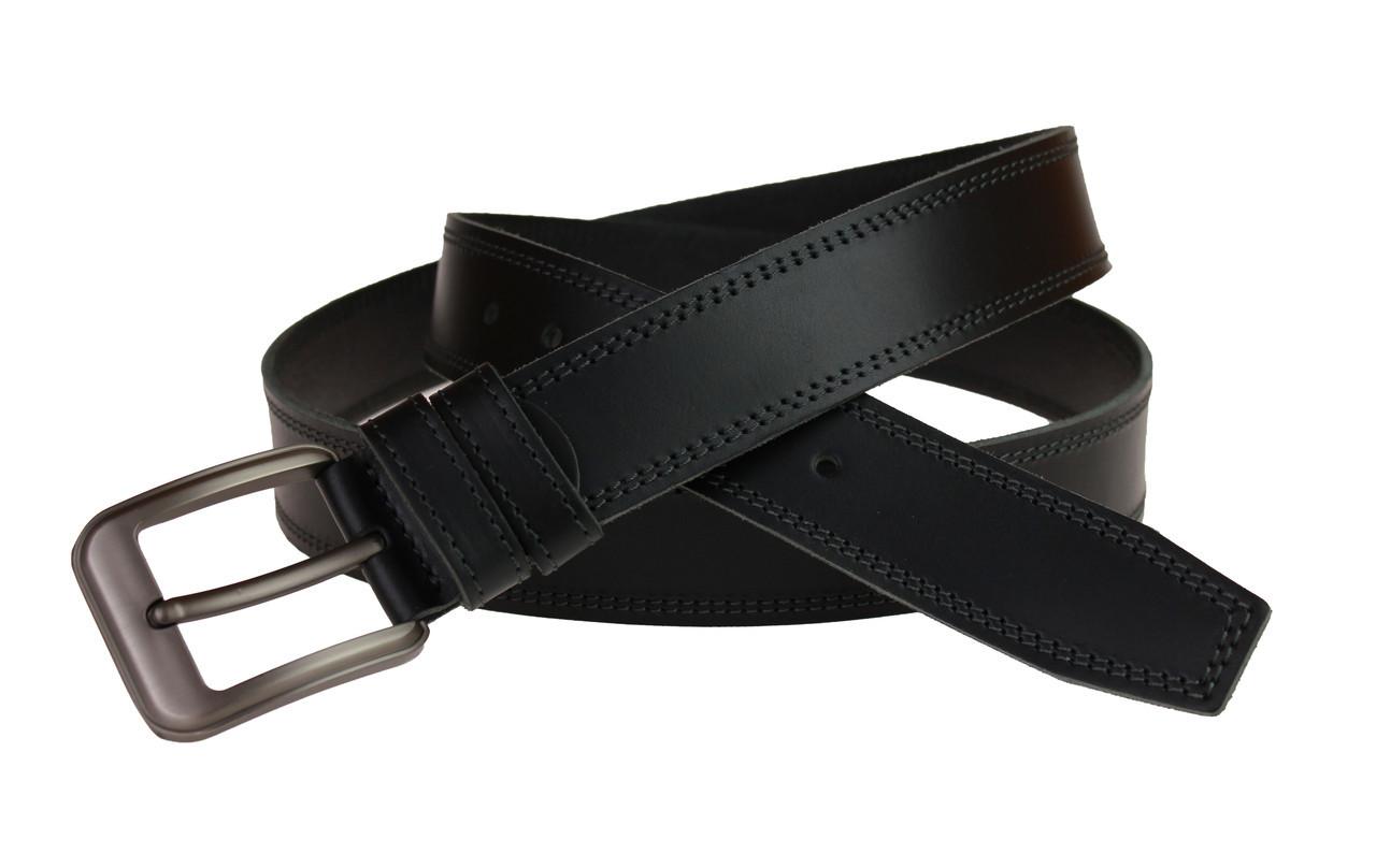 Ремень мужской кожаный джинсовый двойная строчка SULLIVAN  RMK-53(8) 115-150 см черный