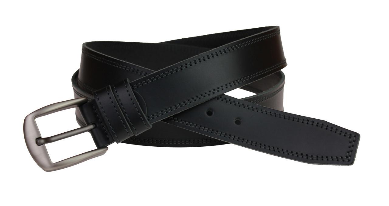 Ремень мужской кожаный джинсовый двойная строчка SULLIVAN  RMK-55(8) 115-150 см черный