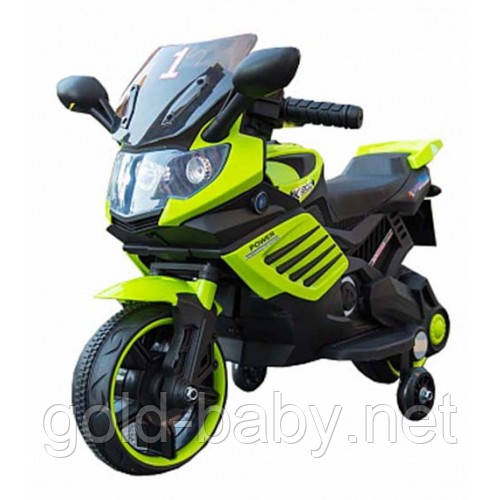 Детский мотоцикл 158, мягкое сиденье, зеленый, фото 1