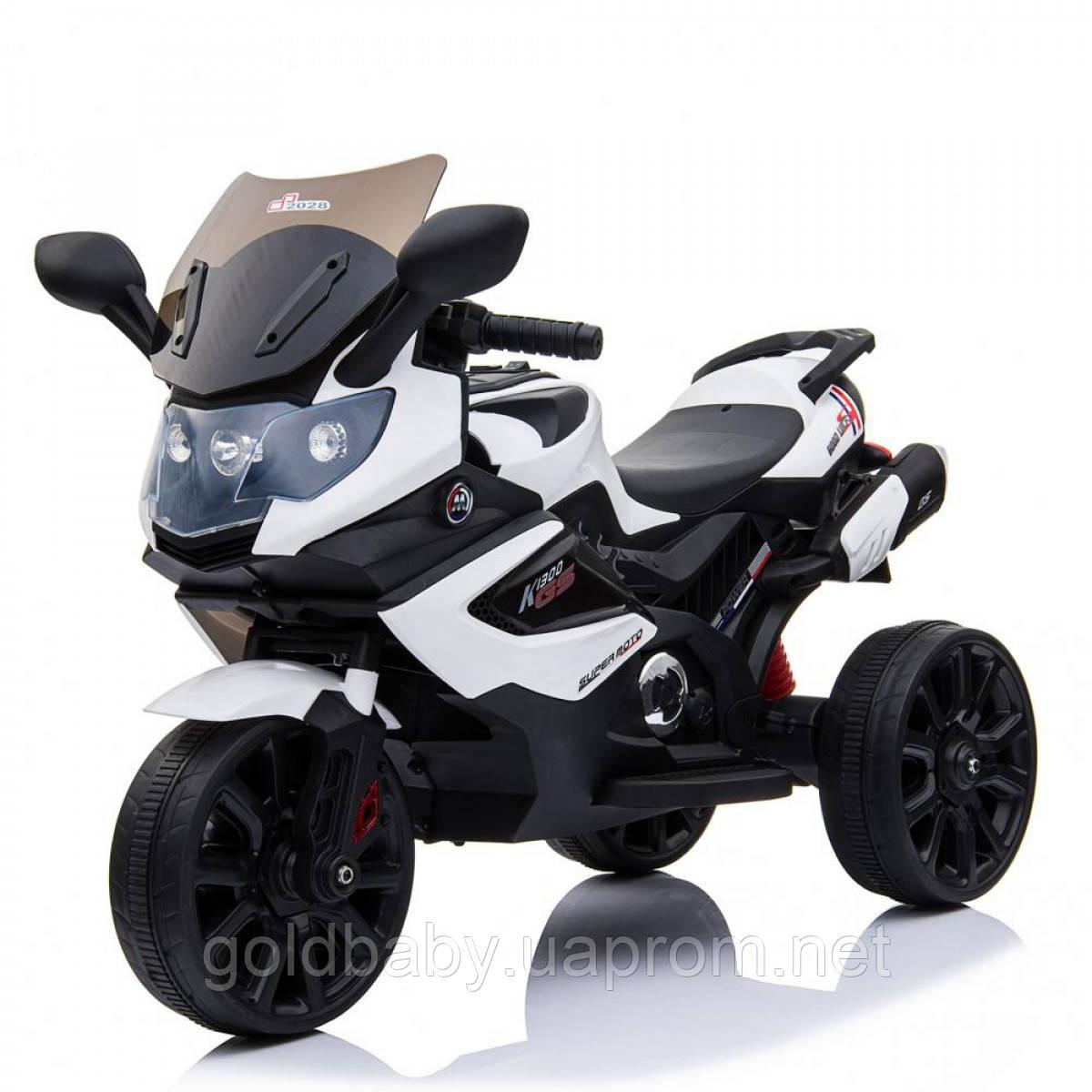 Детский мотоцикл трицикл 168А, мягкое сиденье, белый