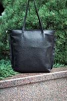 Кожаная вместительная женская черная сумка