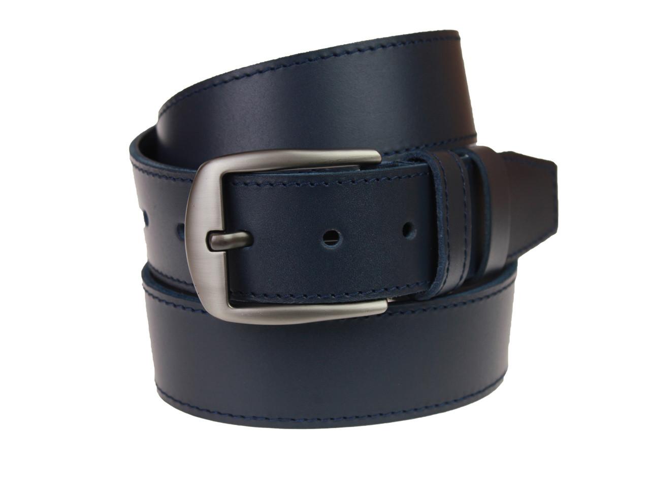Ремень мужской кожаный джинсовый одна строчка SULLIVAN  RMK-75(7.5) 115-150 см синий