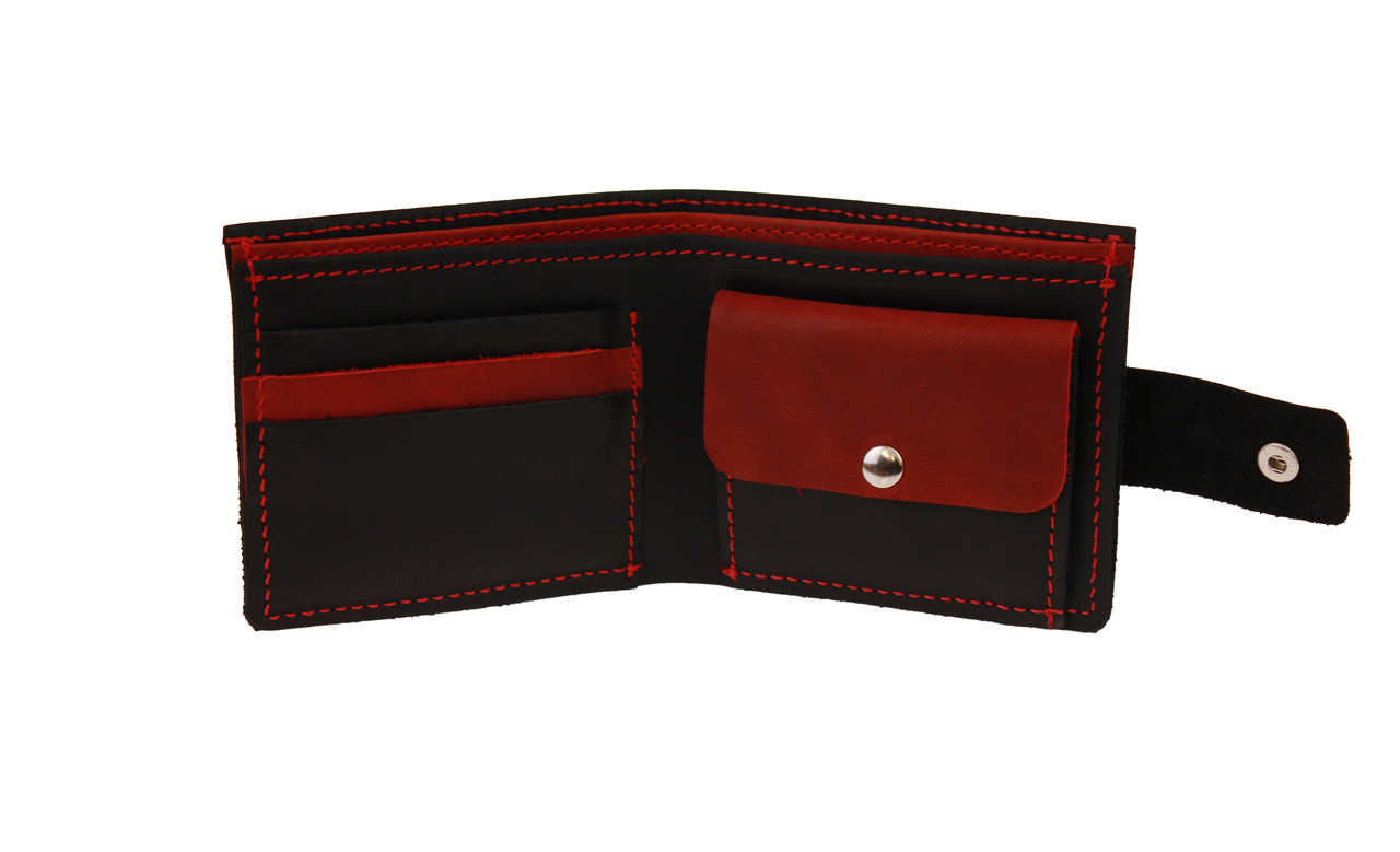 Кошелек мужской кожаный маленький SULLIVAN kmg14(8) черно-красный