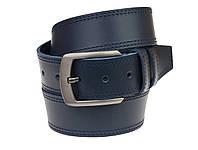 Ремень мужской кожаный джинсовый двойная строчка SULLIVAN  RMK-81(8) 115-150 см синий