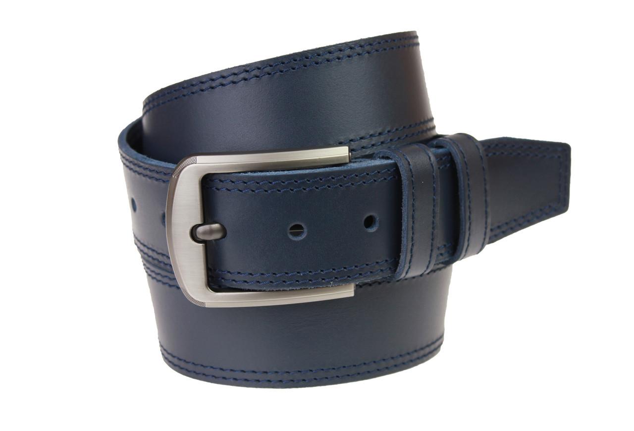 Ремень мужской кожаный джинсовый двойная строчка SULLIVAN  RMK-84(8) 115-150 см синий