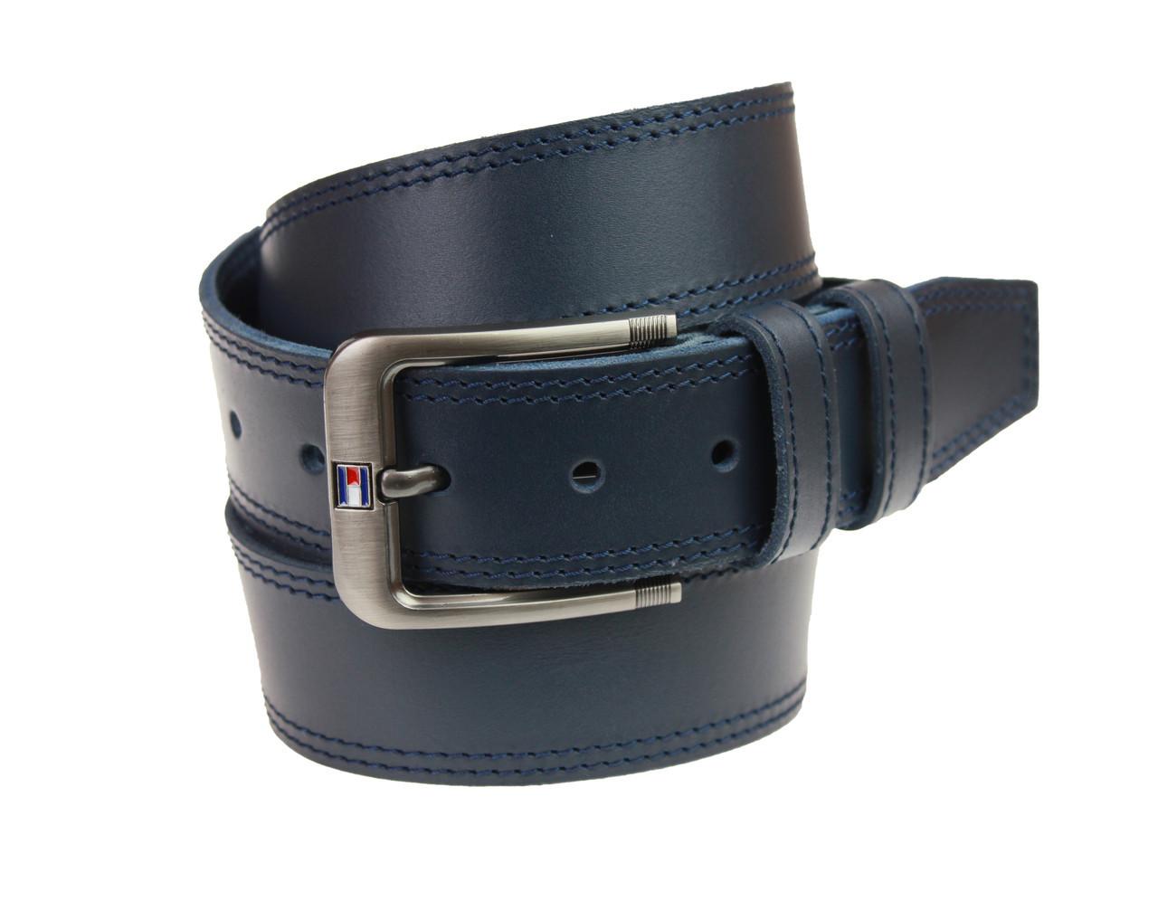 Ремень мужской кожаный джинсовый двойная строчка SULLIVAN  RMK-88(8) 115-150 см синий