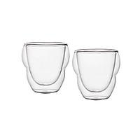 Комплект стаканы с двойным дном 2 шт 75 мл чашки двойное дно для кофе эспрессо с двойными стенками