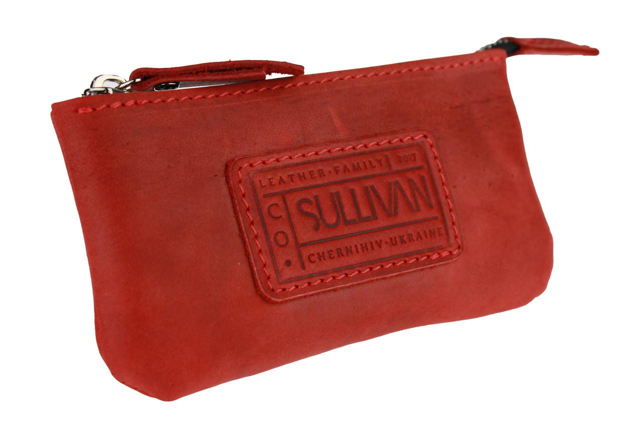 Ключница кожаная сумочка для ключей SULLIVAN k4(5.5) красная