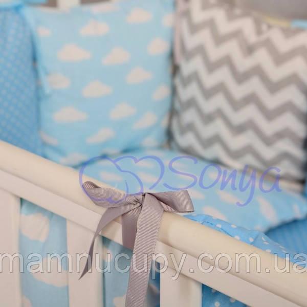 Бортики в детскую кроватку Baby Design Облака ТМ «Маленькая Соня»
