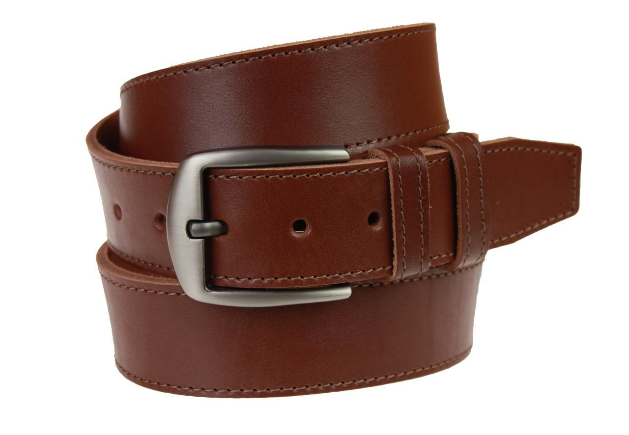 Ремень мужской кожаный джинсовый одна строчка SULLIVAN  RMK-95(8.5) 115-150 см светло-коричневый
