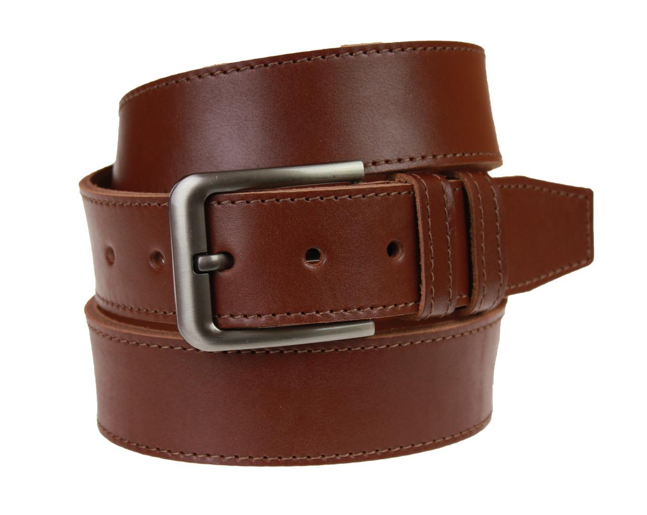 Ремень мужской кожаный джинсовый одна строчка SULLIVAN  RMK-96(8.5) 115-150 см светло-коричневый