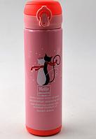 Термокружка детская BN-37 0,5 л с котятами термочашка с трубочкой термос поилка