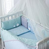 Бортики в детскую кроватку Зайчики голубой ТМ «Маленькая Соня»