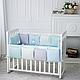 Бортики в детскую кроватку Зайчики голубой ТМ «Маленькая Соня», фото 2