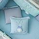 Бортики в детскую кроватку Зайчики голубой ТМ «Маленькая Соня», фото 3