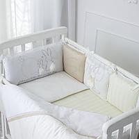 Бортики в детскую кроватку Зайчики молочный ТМ «Маленькая Соня»
