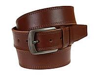Ремень мужской кожаный джинсовый двойная строчка SULLIVAN  RMK-101(9) 115-150 см светло-коричневый