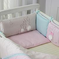Бортики в детскую кроватку Зайчики розовый ТМ «Маленькая Соня»
