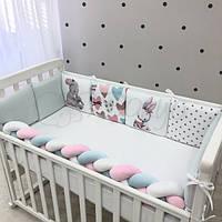 Бортики в детскую кроватку Art Design Зайчики ТМ «Маленькая Соня»