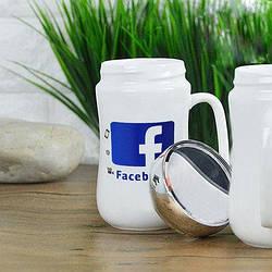 Кружка керамика EL Facebook с зеркальной крышкой 400