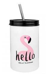 Керамический стакан с трубочкой EL Flamingo 500 мл розовый сидячий