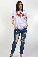 Женская вышитая блуза с коротким рукавом, фото 1