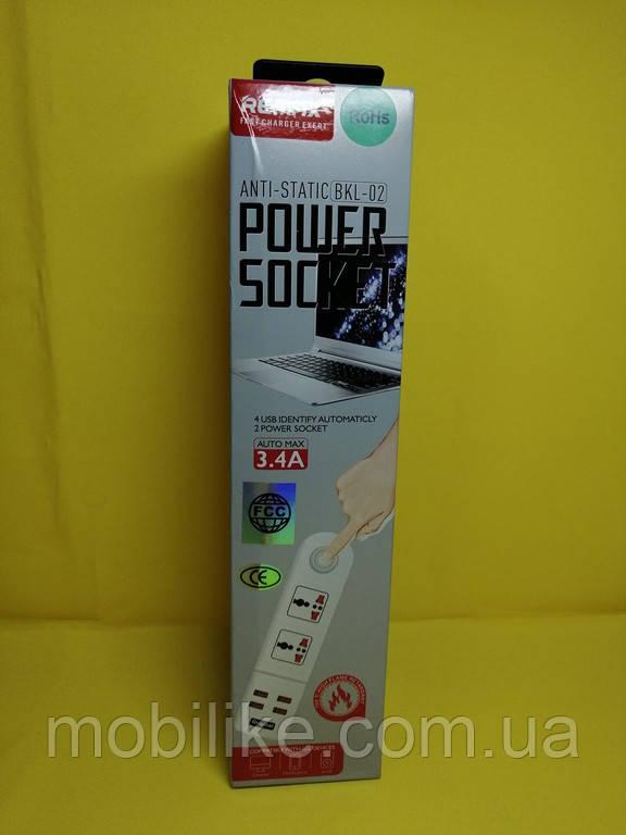 Сетевой удлинитель Remax BKL-02 2 Socket / 4 USB / Кабель 200см