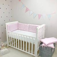 Бортики в детскую кроватку NICE розовый ТМ «Маленькая Соня»