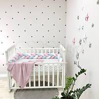 Бортик-коса в детскую кроватку белый мята розовый ТМ «Маленькая Соня»