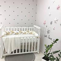 Бортик-коса в детскую кроватку белый молочный беж ТМ «Маленькая Соня»