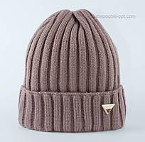 Симпатичная вязаная шапочка Линда темная пудра