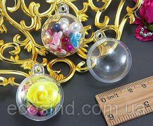 (1шт) Заготовка, акриловый прозрачный подвесной шар Ø3см,разъёмный из двух половинок (пустой!) (сп7нг-1526)