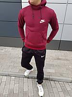 Толстовка и штаны мужской комплект зимний Nike черный с бордовым (реплика)