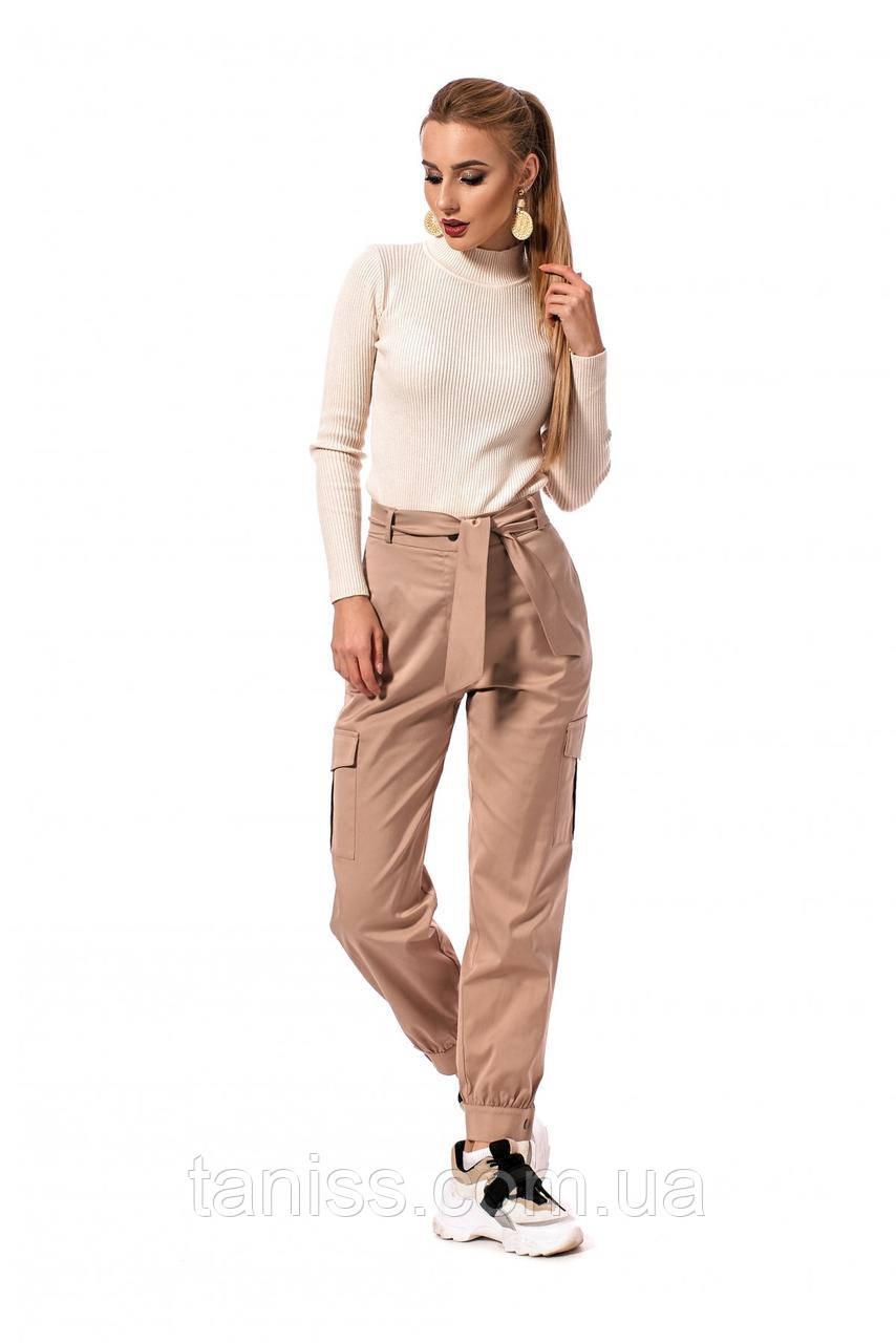 Молодежные, стильные, спортивные штаны, ткань коттон,размеры 42,46,48,50 (233.2)бежевый