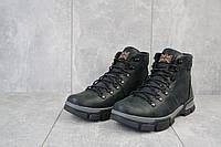 Ботинки мужские кожаные практичные теплые зимние на шнуровке (черные)