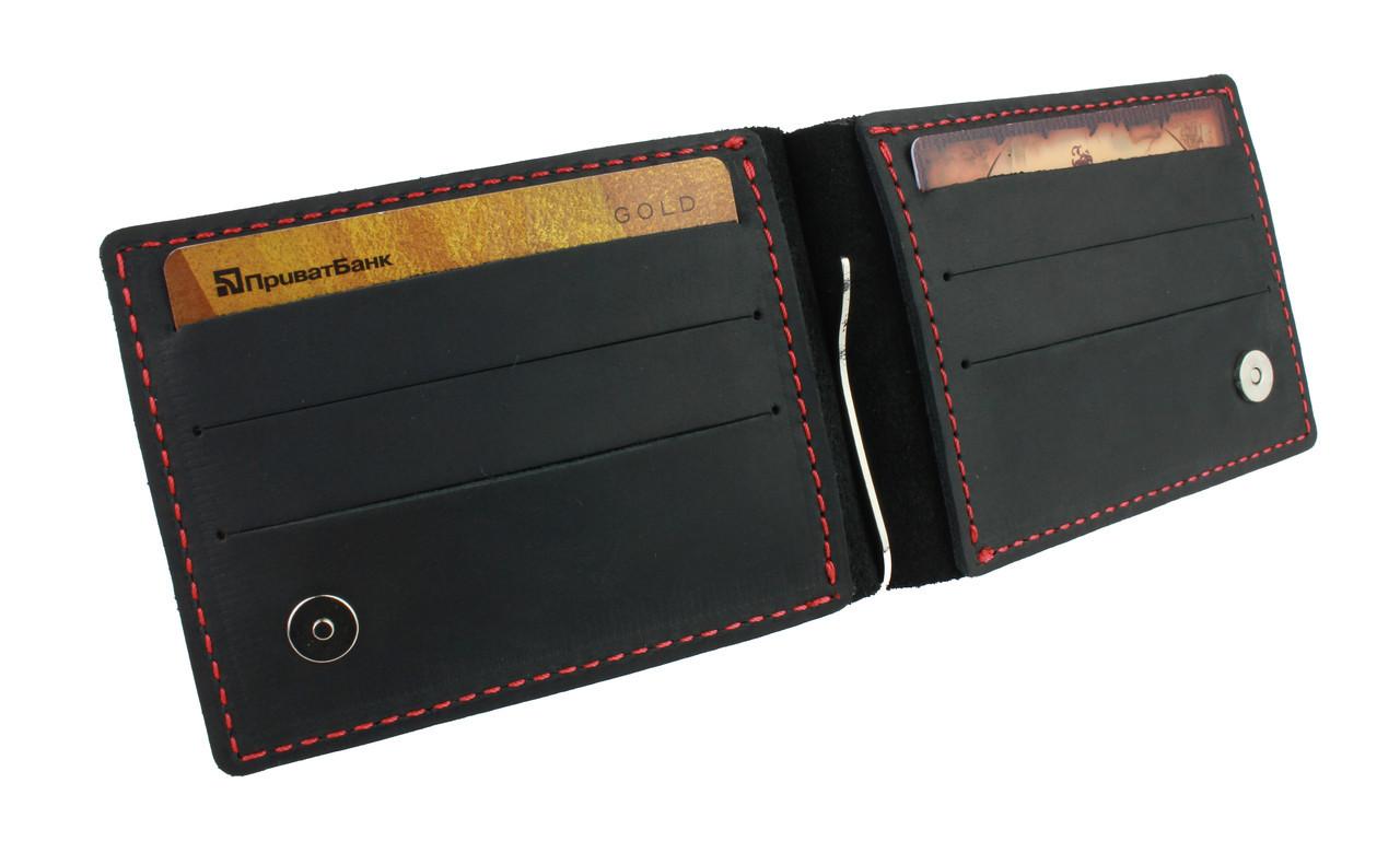 Кошелек мужской кожаный зажим для купюр SULLIVAN kmzdk8(5) черный красная нитка