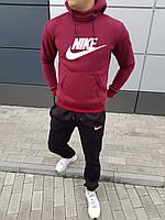 Зимний мужской костюм большой логотип Nike кенгурушка и штаны бордовый с черным (реплика)
