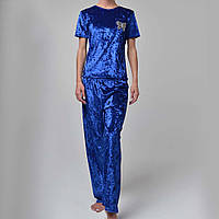 Женская пижама штаны/футболка мраморный велюр M-7016 электрик, фото 1