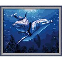 Рисование по номерам из серии Животные, птицы <<Дельфины>>
