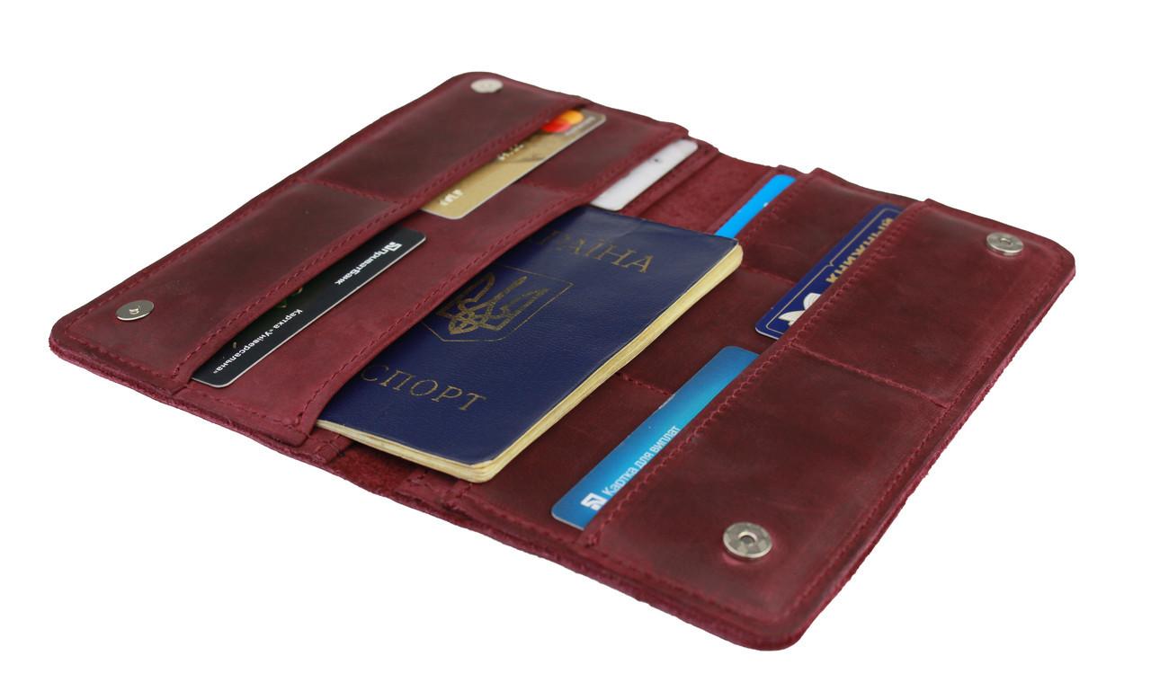Кошелек женский кожаный большой под паспорт SULLIVAN kgb59(10) марсала