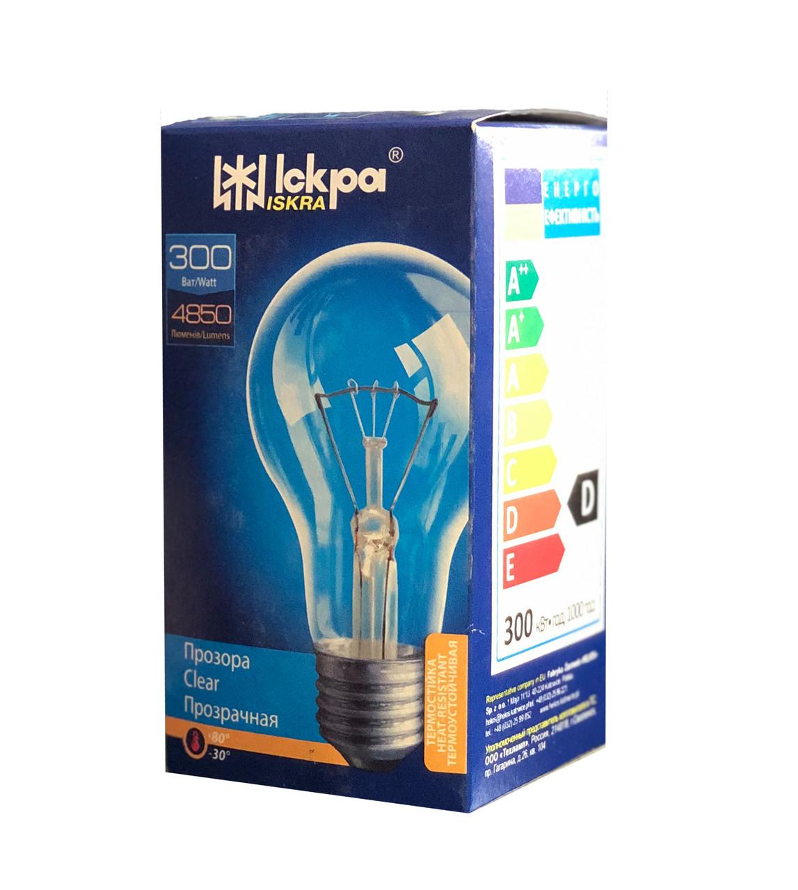 Лампа розжарювання 300 Ватт, Е27 Колба PS80
